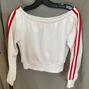 Garage off the shoulder fleece top - size L